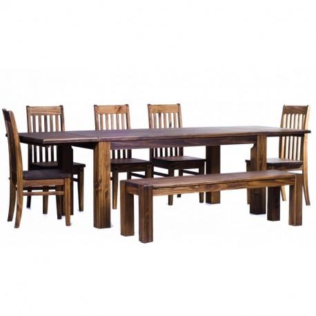Brasilmöbel Tisch Rio Classico 180x90 + 4 Stühle + Sitzbank Rio Classico