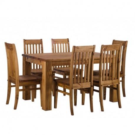 Brasilmöbel Esstisch Rio 140x90 + 6 Stühle Classico