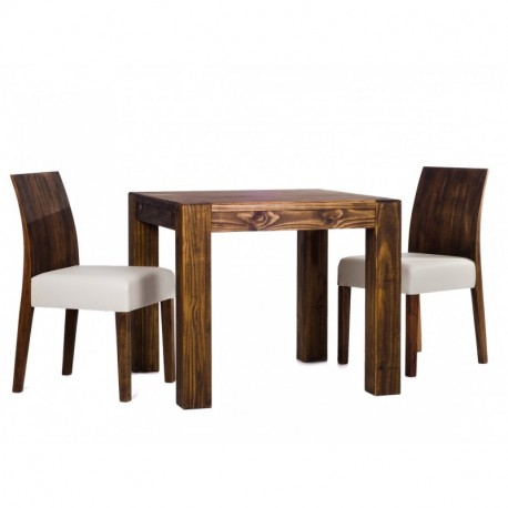 Brasilmöbel Esstisch Rio Kanto 80x80 + 2 Stühle Rio Eukalypto