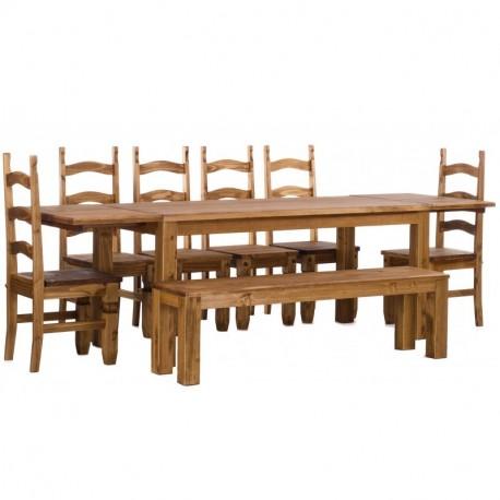 Brasilmöbel Tisch Rio Classico 180x80 + 6 Stühle + Sitzbank + 2x Ansteckplatten