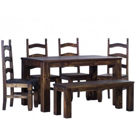 Brasilmöbel Tisch Rio Classico 140x90 + 4 Stühle+Bank Bonito